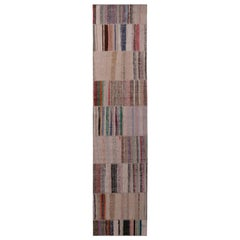 Rug & Kilim's Patchwork Modern Geometric Beige Brown Wool Colorful Kilim Runner