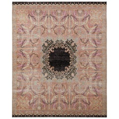 Rug & Kilim's Persian Style Distressed Rug in Pink with Black Medallion Pattern