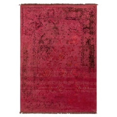 Rug & Kilim's Persian Style Rug in Rose Red All Over Floral Pattern