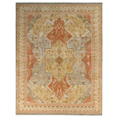 Rug & Kilim's Polonaise Style Rug in Red and Beige-Brown Medallion Pattern