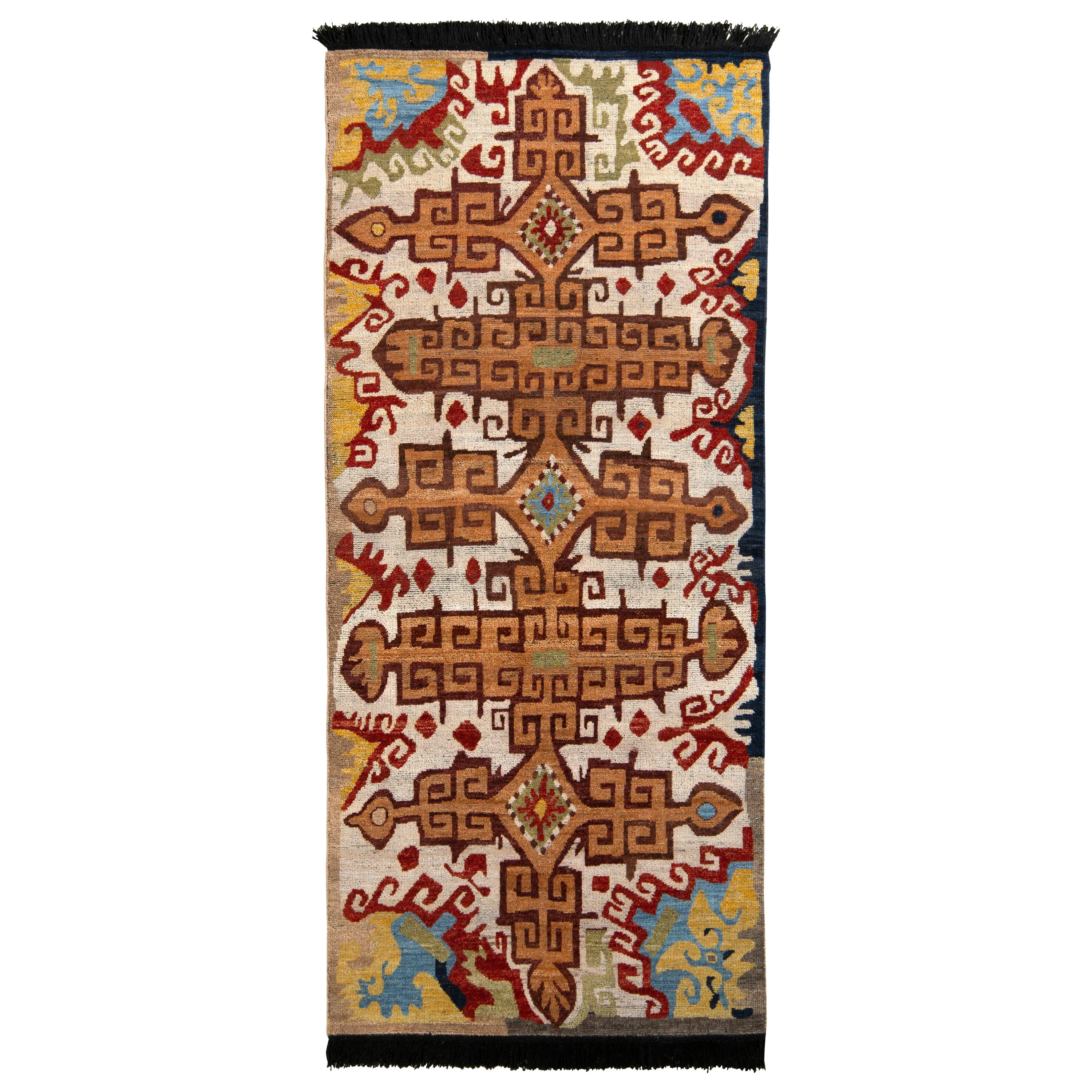 Rug & Kilim's Russian Style Rug in Orange and Beige Brown Tribal Pattern