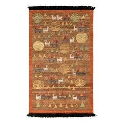 Rug & Kilim's Scandinavian Folk Art Style Rug in Brown with Pictorial Pattern