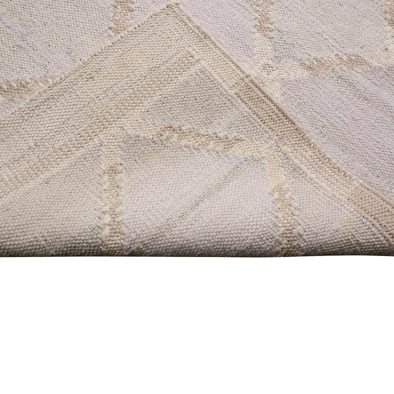 Hand-Knotted Rug & Kilim's Scandinavian-Inspired Beige and Blue Natural Wool Kilim Rug For Sale