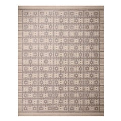 Rug & Kilim's Scandinavian Inspired Beige-Brown and Blue Kilim Rug