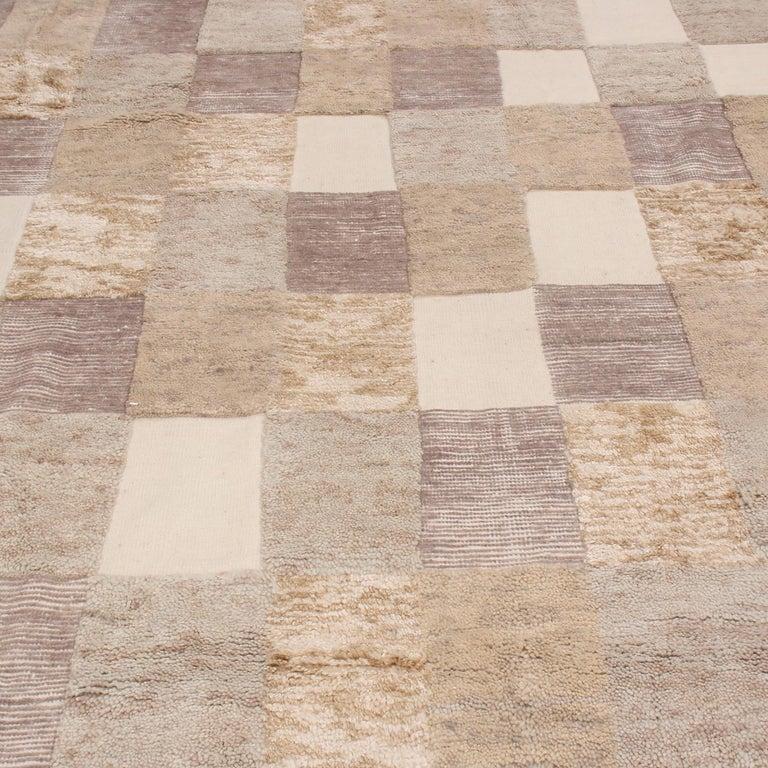 Scandinavian Modern Rug & Kilim's Scandinavian-Inspired Beige Brown and Gray Wool Pile Rug
