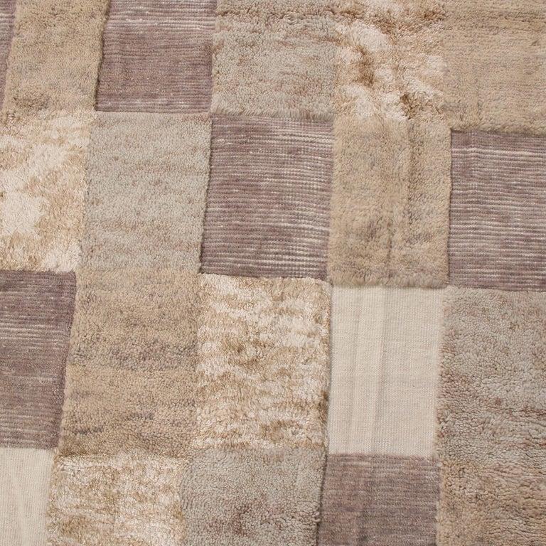 Indian Rug & Kilim's Scandinavian-Inspired Beige Brown and Gray Wool Pile Rug For Sale