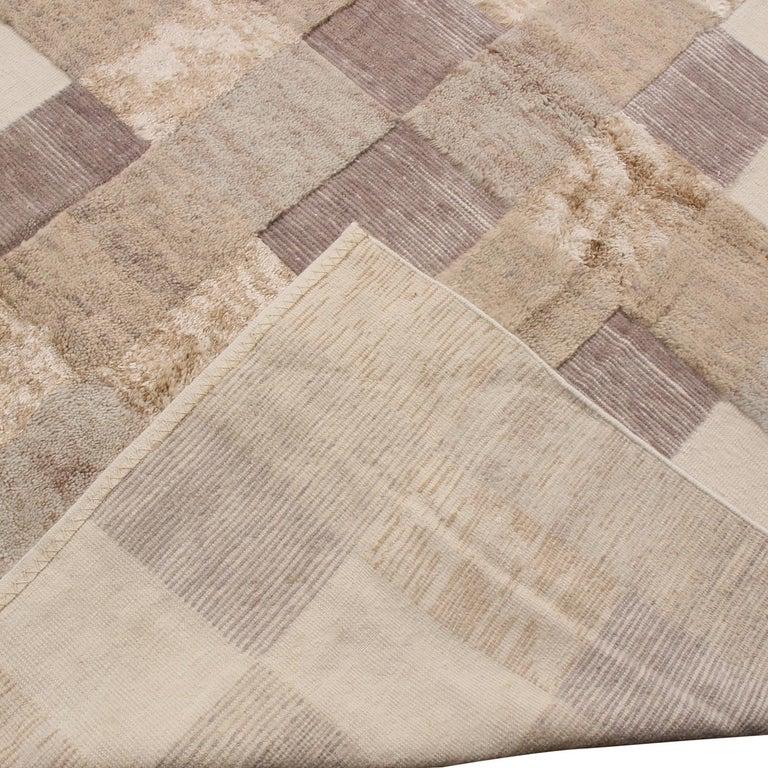 Hand-Woven Rug & Kilim's Scandinavian-Inspired Beige Brown and Gray Wool Pile Rug