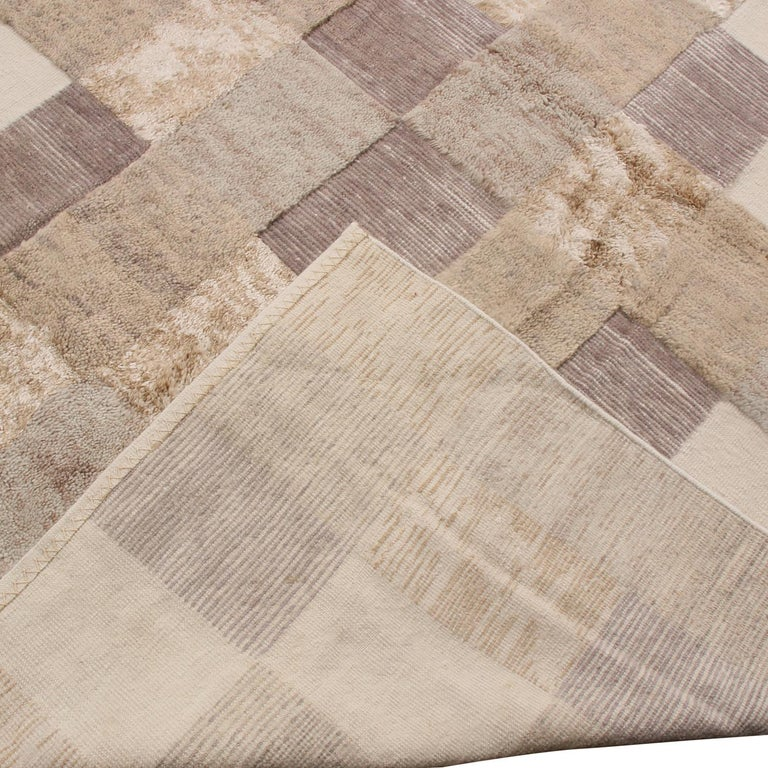 Hand-Woven Rug & Kilim's Scandinavian-Inspired Beige Brown and Gray Wool Pile Rug For Sale