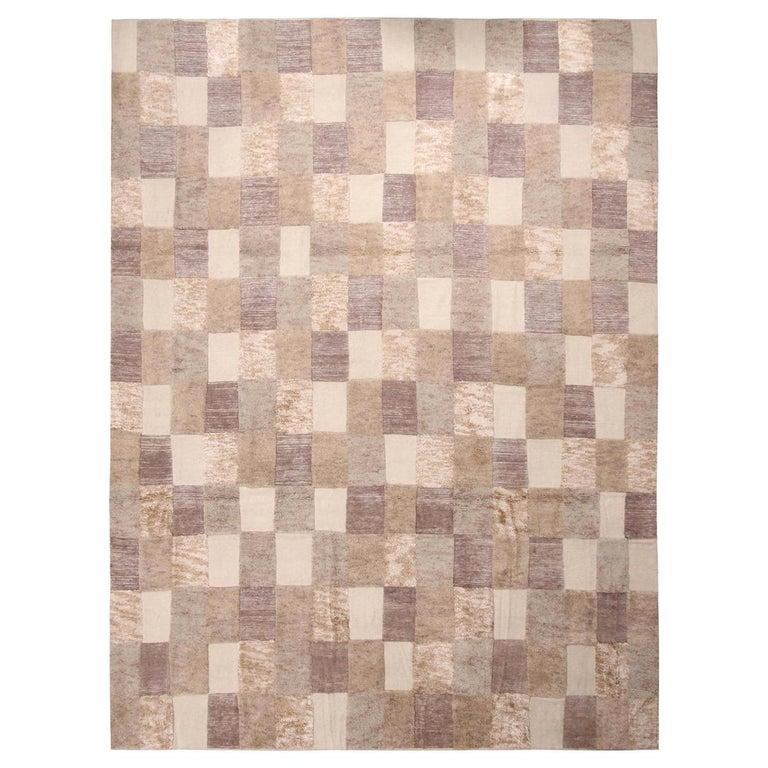 Rug & Kilim's Scandinavian-Inspired Beige Brown and Gray Wool Pile Rug For Sale