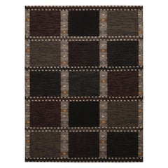 Rug & Kilim's Scandinavian Inspired Beige-Brown and Green Wool Kilim Rug