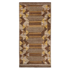 Rug & Kilim's Scandinavian Inspired Beige Brown and Yellow Wool Pile Rug