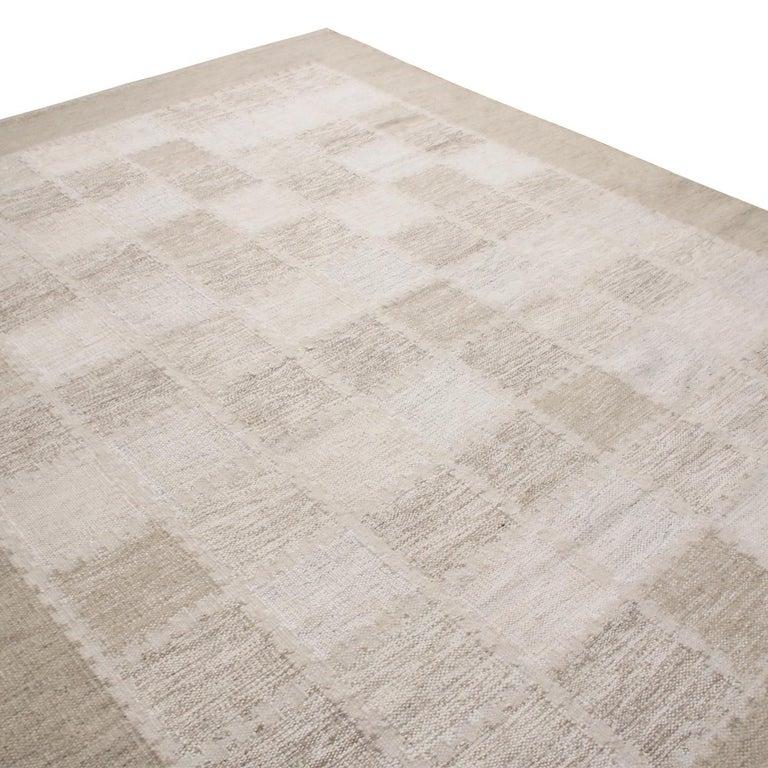 Scandinavian Modern Rug & Kilim's Scandinavian-Inspired Beige Gray and Light Brown Wool Pile Rug For Sale