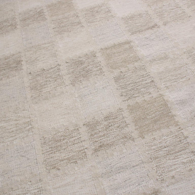 Indian Rug & Kilim's Scandinavian-Inspired Beige Gray and Light Brown Wool Pile Rug For Sale