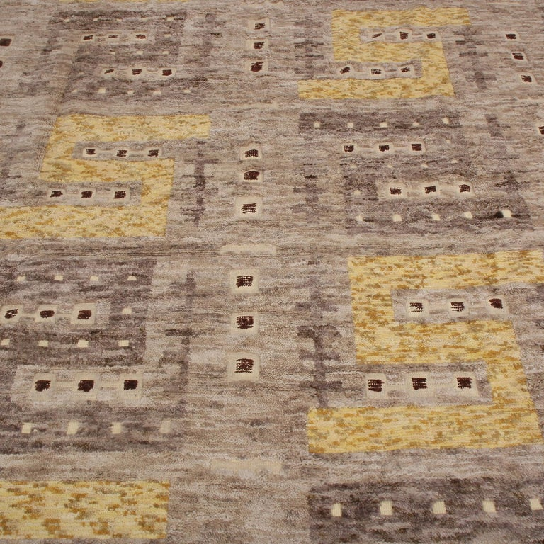 Scandinavian Modern Rug & Kilim's Scandinavian Inspired Beige Gray and Yellow Wool Rug For Sale
