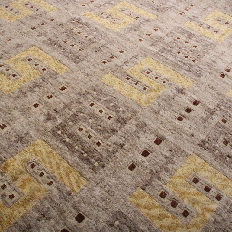 Hand-Knotted Rug & Kilim's Scandinavian Inspired Beige Gray and Yellow Wool Rug For Sale