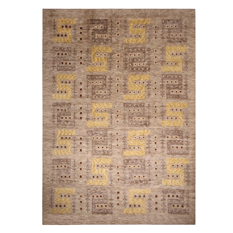 Rug & Kilim's Scandinavian Inspired Beige Gray and Yellow Wool Rug For Sale