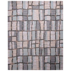 Rug & Kilim's Scandinavian-Inspired Blue-Gray and Beige Natural Wool Kilim Rug