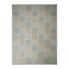 Rug & Kilim's Scandinavian-Inspired Brown and Seafoam Blue Wool Pile Rug