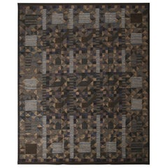 Rug & Kilim's Scandinavian-Inspired Brown Green and Blue Wool Pile Rug