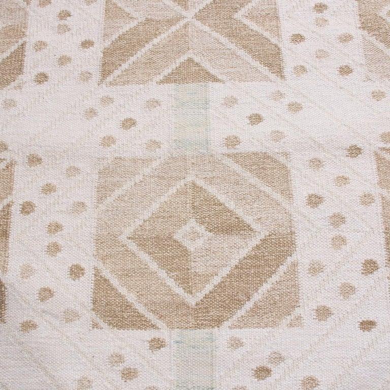 Scandinavian Modern Rug & Kilim's Scandinavian Inspired Cream and Beige-Brown Natural Wool Kilim Rug For Sale