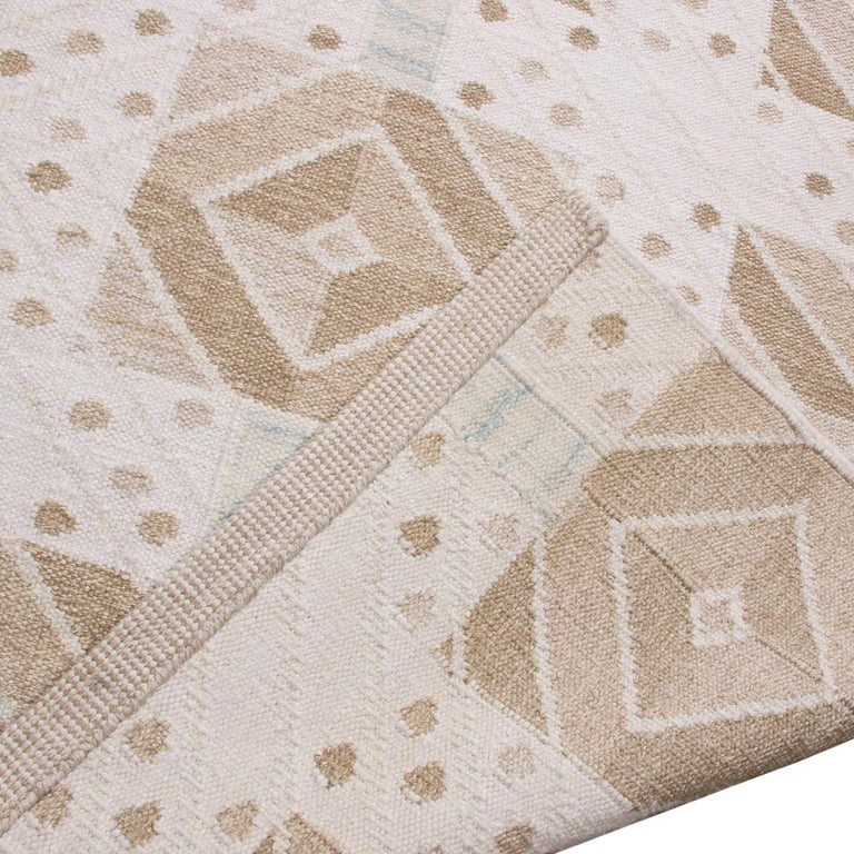 Hand-Woven Rug & Kilim's Scandinavian Inspired Cream and Beige-Brown Natural Wool Kilim Rug For Sale