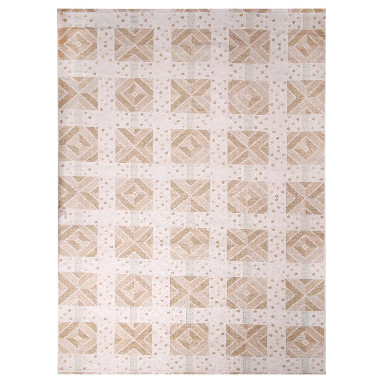 Rug & Kilim's Scandinavian Inspired Cream and Beige-Brown Natural Wool Kilim Rug