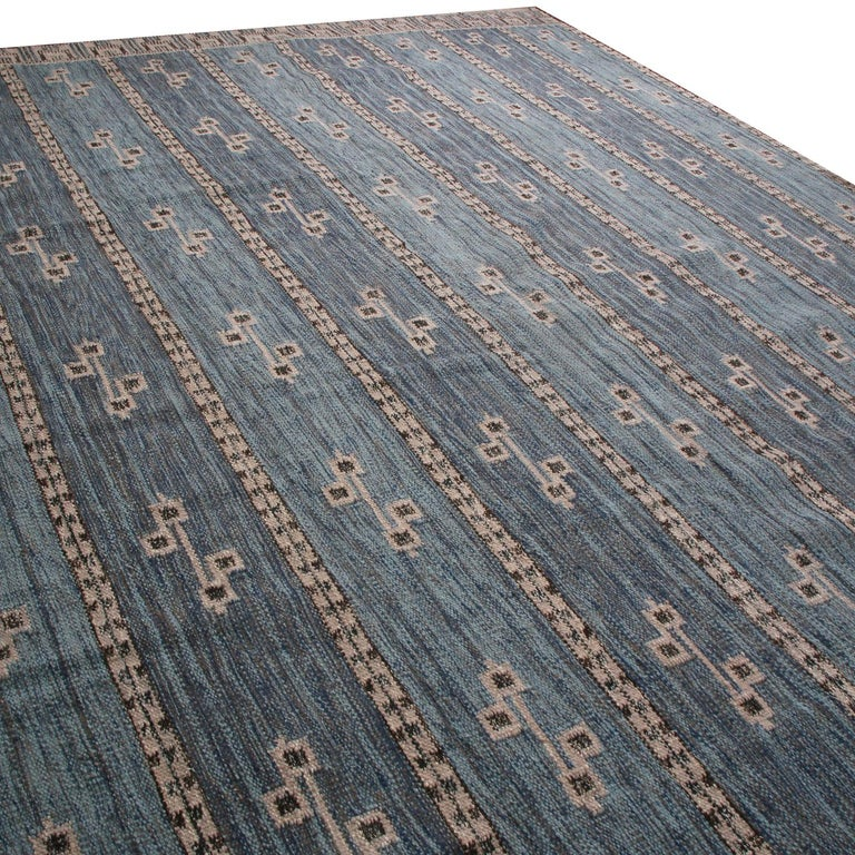 Scandinavian Modern Rug & Kilim's Scandinavian-Inspired Cream Gray & Beige Brown Natural Wool Rug For Sale