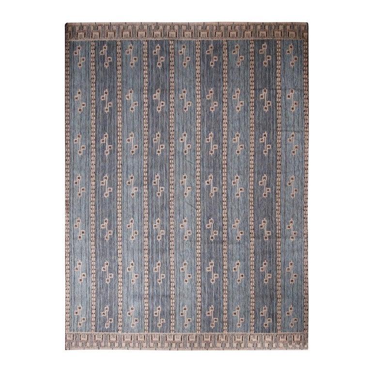 Rug & Kilim's Scandinavian-Inspired Cream Gray & Beige Brown Natural Wool Rug For Sale