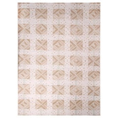 Rug & Kilim's Scandinavian Inspired Cream and Beige-Brown Natural Wool Kilim Rug