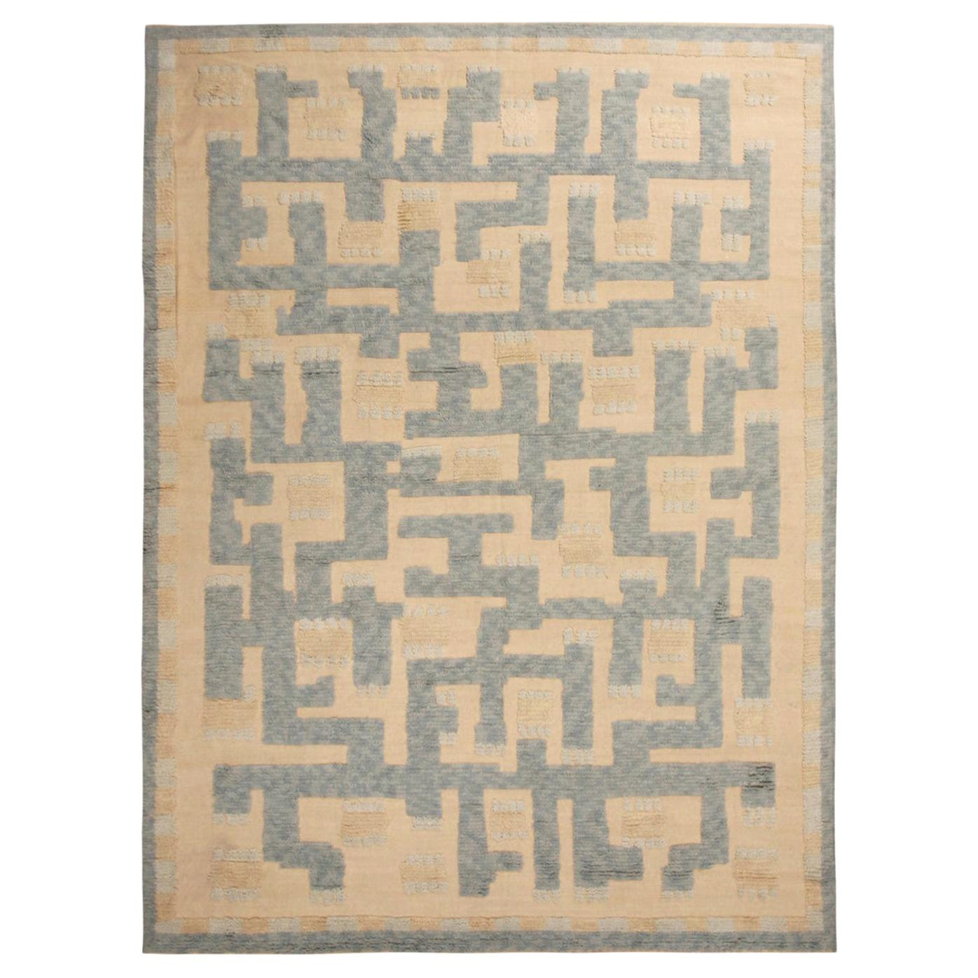 Rug & Kilim's Scandinavian-Inspired Geometric Beige and Blue Wool Pile Rug