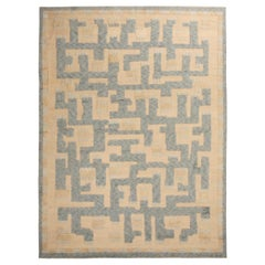 Rug & Kilim's Scandinavian-Inspired Geometric Beige and Blue Wool Pile Rug