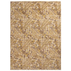 Rug & Kilim's Scandinavian-Inspired Geometric Beige and Yellow Wool Pile Rug