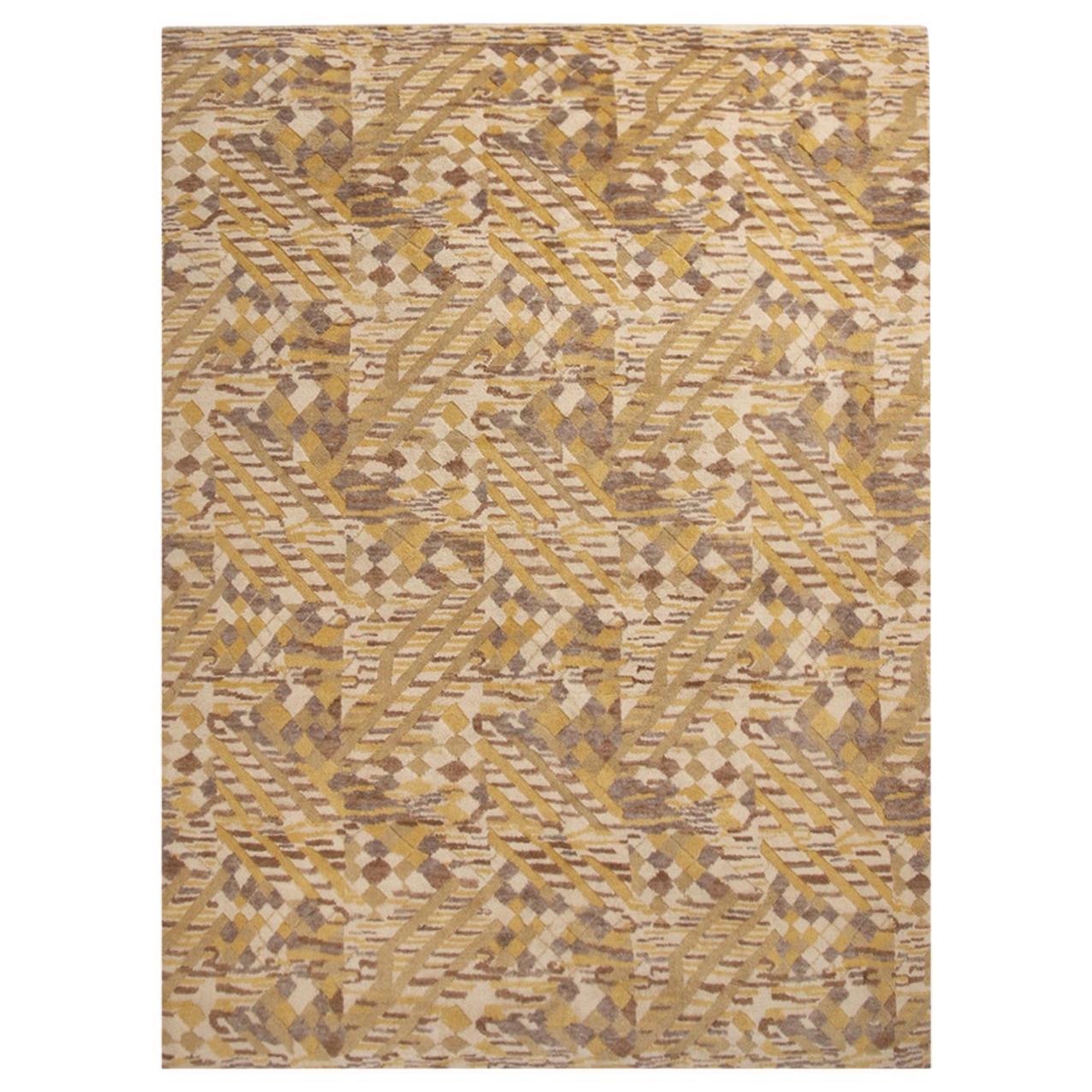 Rug & Kilim's Scandinavian-Inspired Geometric Beige and Yellow Wool Pile Rug