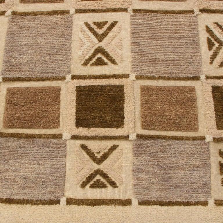 Scandinavian Modern Rug & Kilim's Scandinavian-Inspired Geometric Beige Brown and Gray Wool Pile Rug