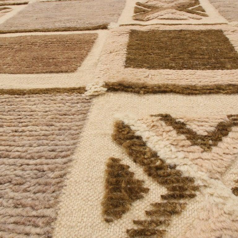 Indian Rug & Kilim's Scandinavian-Inspired Geometric Beige Brown and Gray Wool Pile Rug