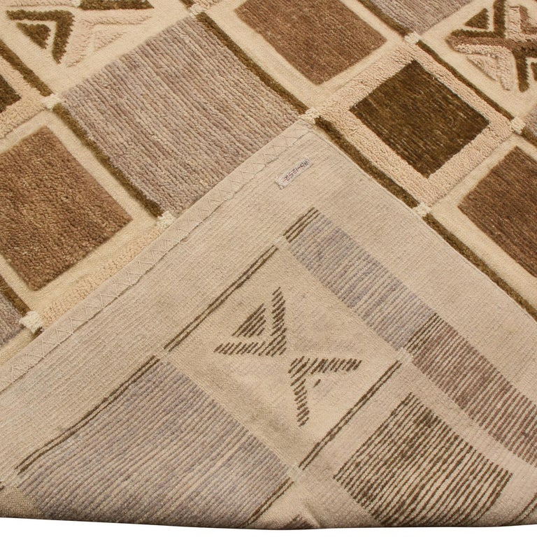 Hand-Knotted Rug & Kilim's Scandinavian-Inspired Geometric Beige Brown and Gray Wool Pile Rug