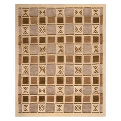 Rug & Kilim's Scandinavian-Inspired Geometric Beige Brown and Gray Wool Pile Rug