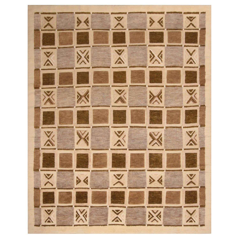 Rug & Kilim's Scandinavian-Inspired Geometric Beige Brown and Gray Wool Pile Rug