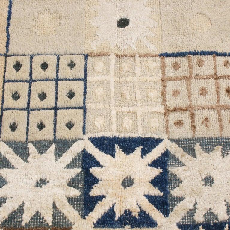 Scandinavian Modern Rug & Kilim's Scandinavian Inspired Geometric Beige Cream Wool Pile Rug For Sale