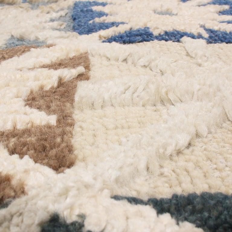 Indian Rug & Kilim's Scandinavian Inspired Geometric Beige Cream Wool Pile Rug For Sale