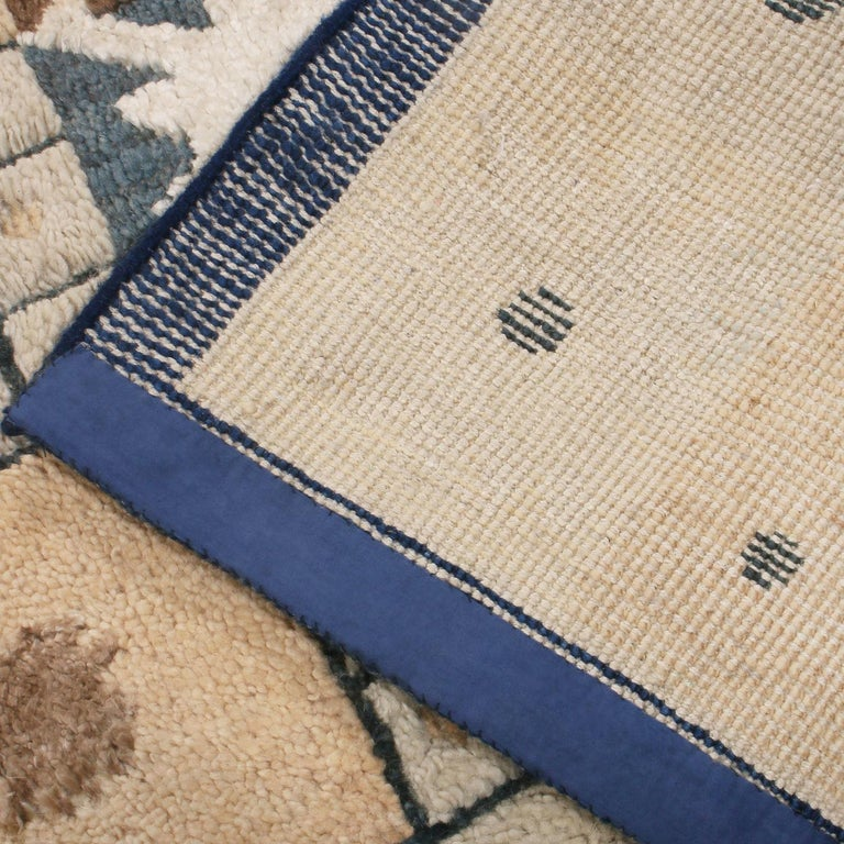 Hand-Knotted Rug & Kilim's Scandinavian Inspired Geometric Beige Cream Wool Pile Rug For Sale