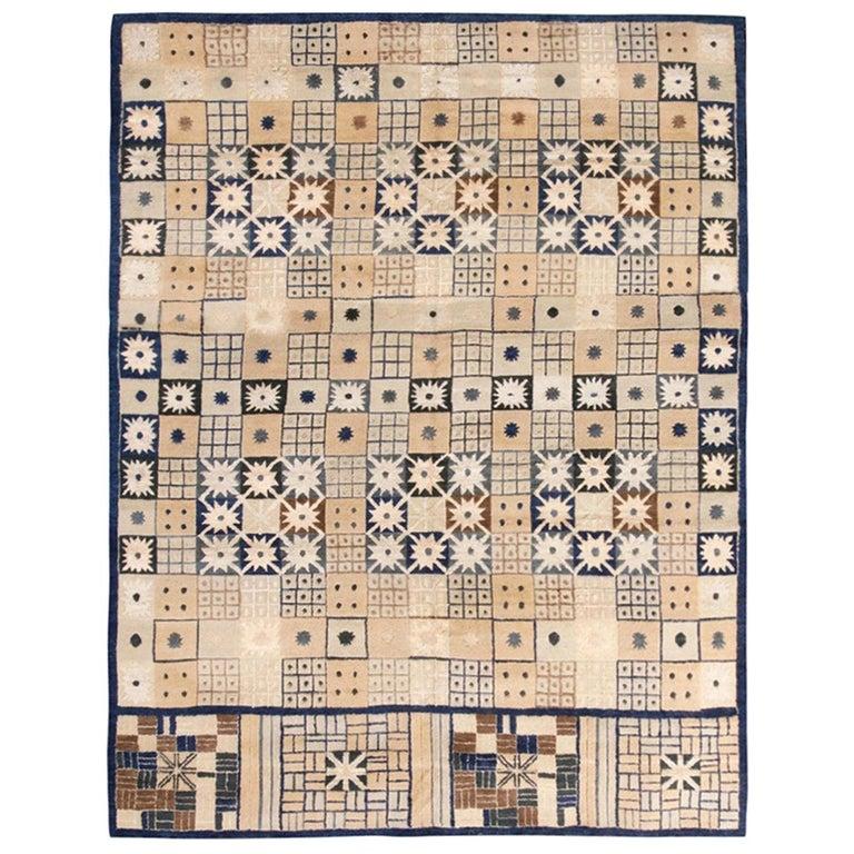 Rug & Kilim's Scandinavian Inspired Geometric Beige Cream Wool Pile Rug For Sale