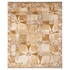 Rug & Kilim's Scandinavian-Inspired Geometric Beige Cream Wool Rug