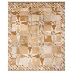 Rug & Kilim's Scandinavian-Inspired Geometric Beige Cream Wool Rug