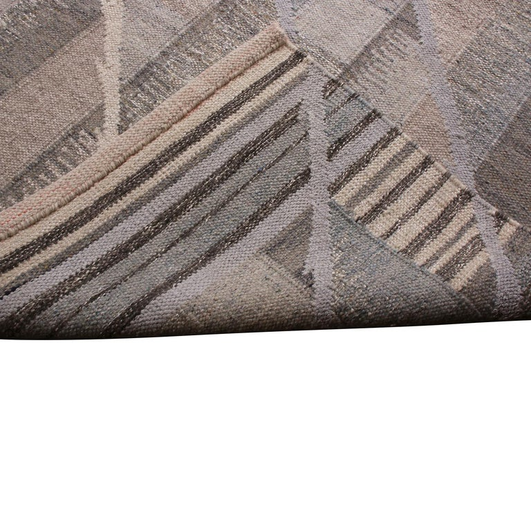 Hand-Knotted Rug & Kilim's Scandinavian Inspired Geometric Beige Gray and Blue Wool Rug For Sale
