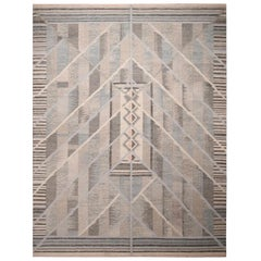 Rug & Kilim's Scandinavian Inspired Geometric Beige Gray and Blue Wool Rug