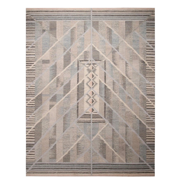 Rug & Kilim's Scandinavian Inspired Geometric Beige Gray and Blue Wool Rug For Sale