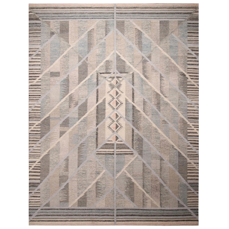 Rug & Kilim's Scandinavian Inspired Geometric Beige Gray and Blue Wool Rug