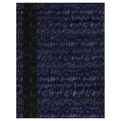 Rug & Kilim's Scandinavian-Inspired Geometric Black and Blue Wool Pile Rug