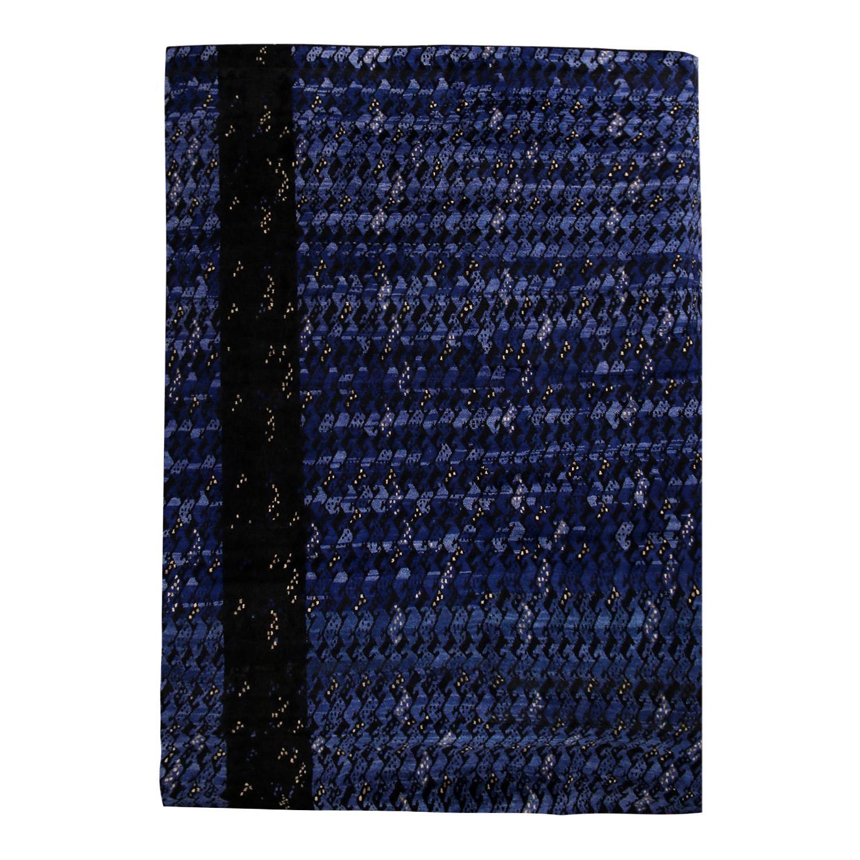 Rug & Kilim's Scandinavian-Inspired Geometric Black and Blue Wool Pile Rug